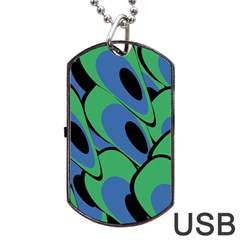 Peacock Pattern Dog Tag Usb Flash (one Side) by Valentinaart