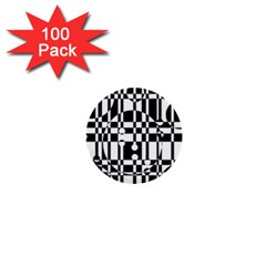 Black And White Pattern 1  Mini Buttons (100 Pack)  by Valentinaart