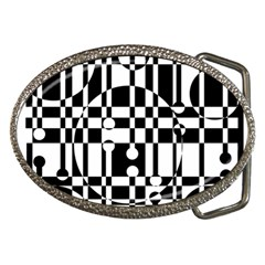 Black And White Pattern Belt Buckles by Valentinaart