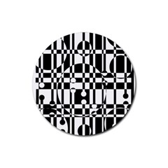 Black And White Pattern Rubber Coaster (round)  by Valentinaart