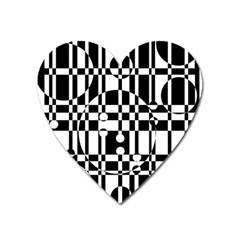 Black And White Pattern Heart Magnet by Valentinaart