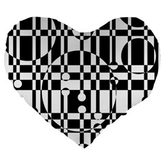 Black And White Pattern Large 19  Premium Heart Shape Cushions by Valentinaart