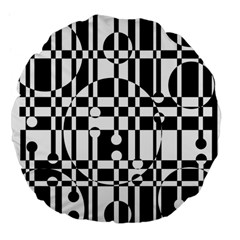 Black And White Pattern Large 18  Premium Flano Round Cushions by Valentinaart