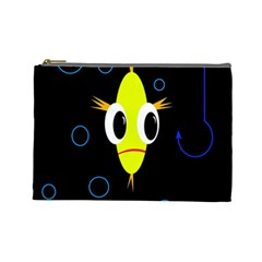 Yellow Fish Cosmetic Bag (large)  by Valentinaart