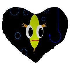 Yellow Fish Large 19  Premium Heart Shape Cushions by Valentinaart