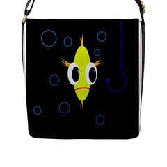 Yellow Fish Flap Messenger Bag (l)  by Valentinaart