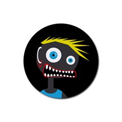 Crazy Man Rubber Round Coaster (4 Pack)  by Valentinaart