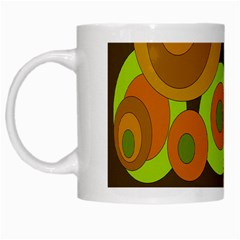 Brown Pattern White Mugs by Valentinaart