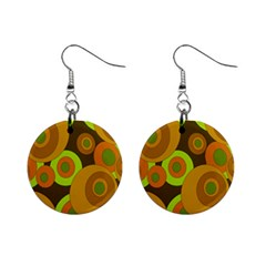 Brown Pattern Mini Button Earrings by Valentinaart