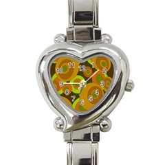Brown Pattern Heart Italian Charm Watch by Valentinaart