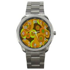 Brown Pattern Sport Metal Watch by Valentinaart