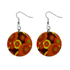 Orange Pattern Mini Button Earrings by Valentinaart