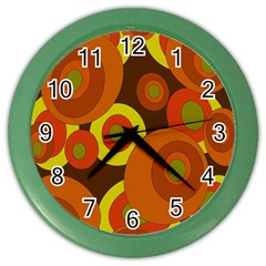 Orange Pattern Color Wall Clocks by Valentinaart