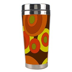 Orange Pattern Stainless Steel Travel Tumblers by Valentinaart