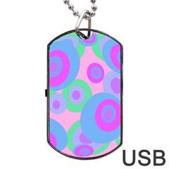 Pink Pattern Dog Tag Usb Flash (two Sides)  by Valentinaart