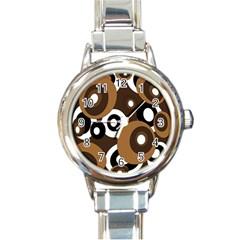 Brown Pattern Round Italian Charm Watch by Valentinaart