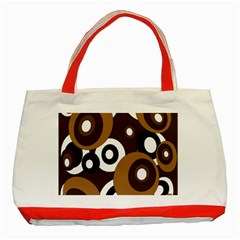 Brown Pattern Classic Tote Bag (red) by Valentinaart