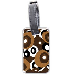 Brown Pattern Luggage Tags (one Side)  by Valentinaart