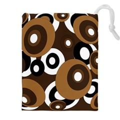 Brown Pattern Drawstring Pouches (xxl) by Valentinaart
