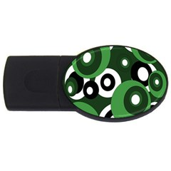 Green Pattern Usb Flash Drive Oval (4 Gb)  by Valentinaart