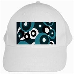 Blue Pattern White Cap by Valentinaart
