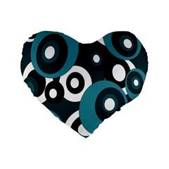 Blue Pattern Standard 16  Premium Flano Heart Shape Cushions by Valentinaart