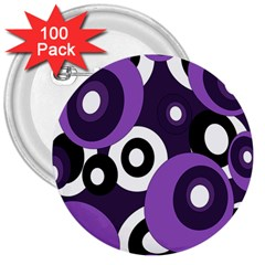 Purple Pattern 3  Buttons (100 Pack)  by Valentinaart