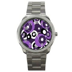 Purple Pattern Sport Metal Watch by Valentinaart