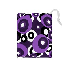 Purple Pattern Drawstring Pouches (medium)  by Valentinaart