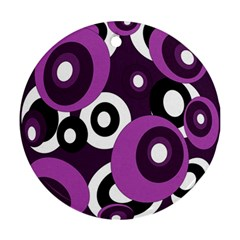 Purple Pattern Round Ornament (two Sides)  by Valentinaart