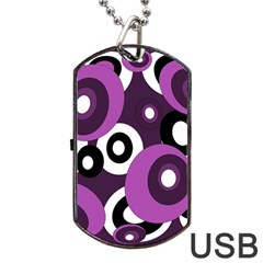 Purple pattern Dog Tag USB Flash (Two Sides)  by Valentinaart
