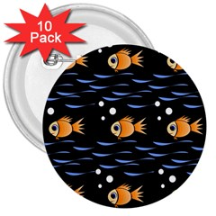 Fish Pattern 3  Buttons (10 Pack)  by Valentinaart