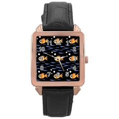 Fish Pattern Rose Gold Leather Watch  by Valentinaart
