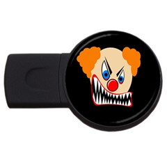 Evil Clown Usb Flash Drive Round (4 Gb)  by Valentinaart