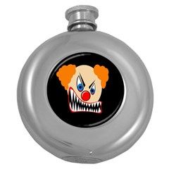 Evil clown Round Hip Flask (5 oz) by Valentinaart