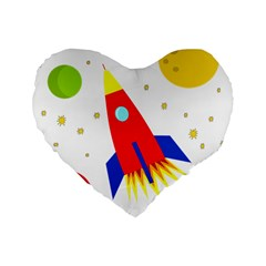 Transparent Spaceship Standard 16  Premium Flano Heart Shape Cushions by Valentinaart