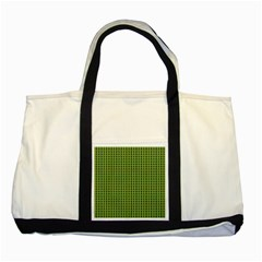 Mod Green Orange Pattern Two Tone Tote Bag by BrightVibesDesign