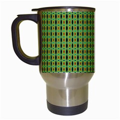 Mod Green Orange Pattern Travel Mugs (white) by BrightVibesDesign
