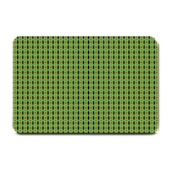Mod Green Orange Pattern Small Doormat  by BrightVibesDesign