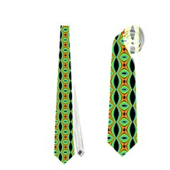 Mod Green Orange Pattern Neckties (Two Side)  by BrightVibesDesign