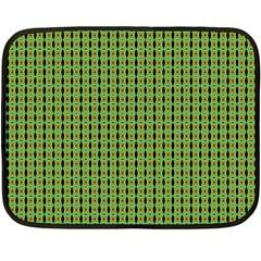 Mod Green Orange Pattern Fleece Blanket (mini) by BrightVibesDesign