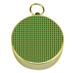 Mod Green Orange Pattern Gold Compasses by BrightVibesDesign