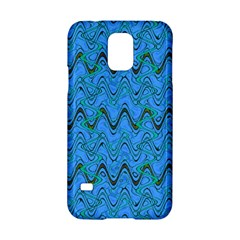 Blue Wavy Squiggles Samsung Galaxy S5 Hardshell Case  by BrightVibesDesign
