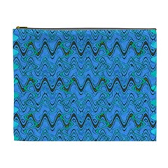 Blue Wavy Squiggles Cosmetic Bag (xl) by BrightVibesDesign