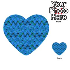 Blue Wavy Squiggles Multi Purpose Cards (heart)  by BrightVibesDesign