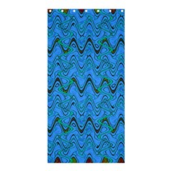 Blue Wavy Squiggles Shower Curtain 36  X 72  (stall)  by BrightVibesDesign