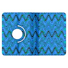 Blue Wavy Squiggles Kindle Fire Hdx Flip 360 Case by BrightVibesDesign