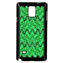 Green Wavy Squiggles Samsung Galaxy Note 4 Case (black) by BrightVibesDesign
