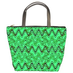 Green Wavy Squiggles Bucket Bags by BrightVibesDesign
