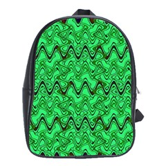 Green Wavy Squiggles School Bags(large)  by BrightVibesDesign
